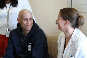 Santiago and his doctor, Jennifer Kanakry, National Cancer Institute, Clinical Head of Transplant